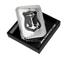 Anchor Pattern Double Sided Pocket Cigarette Tobacco Storage Case Box Holder