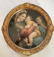 """Madonna of the Chair Litho Raphael Gold Framed Religious Catholic 15"""" Print 1954"""
