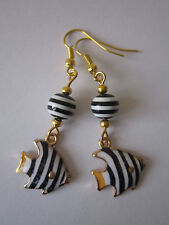 Goccia/Dangle Orecchini Angel Fish-Black & White Stripe-Placcato oro
