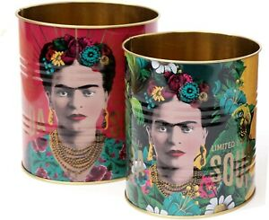 Set Of 2 Frida Kahlo Retro Storage Tin ~ Decorative Display Can ~ Red and Yellow