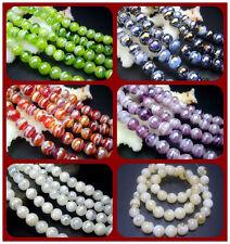 8MM Handwork Lampwork Glass Round Spacer Beads Jewelry 50PCS