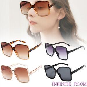 Oversized Square Flat Top Sunglasses UV400 Large Black Square Women Ladies Big