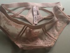 VICTORIA'S SECRET 'DREAM ANGELS' HIGH WAISTED LACE THONG-NUDE PINK SIZE-XS-BNWT!