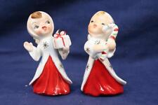 Vintage Pair Japan Ceramic Christmas Angels w Present & Candy Canes