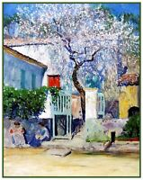 Spring French Riviera by American Guy Orlando Rose Counted Cross Stitch Pattern