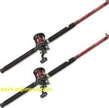 2 X Fladen Fission Boat Fishing Rods Multiplier Reels With Line on 30-40lbs