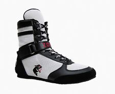 Hi-Top Boxing Boot with ankle strap for combat, competition, training White /Blk