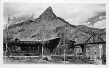 1930s Western Log Cabin Texaco Gas Station Gravity Pumps Roadside RPPC Postcard
