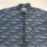 Columbia Button Up Shirt Men's XL Short Sleeve Blue Fish Print Casual Cotton