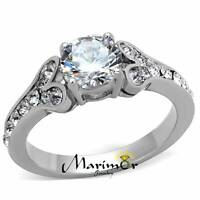 STAINLESS STEEL 1.82CT CUBIC ZIRCONIA 316 ENGAGEMENT RING WOMENS SIZE 5-10