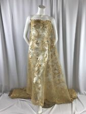 Gold Flowers Corded Design-embroider With Sequins On A Mesh Lace Fabric-by Yard.