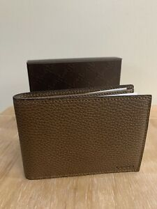 BNIB GUCCI BROWN CANDON PEBBLED LEATHER BIFOLD DOLLAR WALLET WITH COIN POCKET