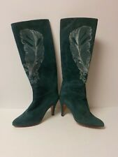 CASADEI Collection TEAL Pigskin Leather Embroidered Dress Boots, Size 6