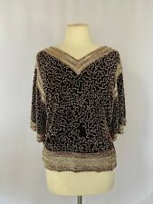 Chloe Vintage Black, Silver, Gold Beaded Top size M