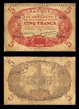 Guadeloupe 5 Francs 1944 Grande Signature