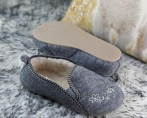 🌷 Ladies Womens Real Wool Felt Woolen Slippers Wide Handmade Grey Warm Soft