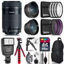 Canon 55-250mm IS STM -3 Lens Kit + Slave Flash + Tripod - 64GB Accessory Bundle
