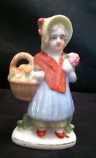 Vintage Figurine of Girl In yellow hat w/ Basket Marked Occupied Japan #F928