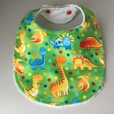 Handmade Baby Bib ~ Dinosaur Print - Green