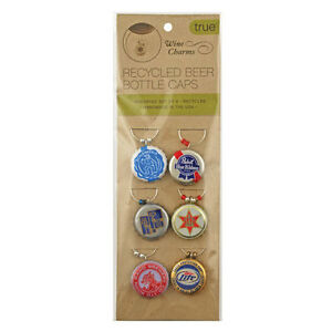 BEER CAP CHARMS for bottle mug glass gift pint party Set of 6 Pack Brew Tag Wine