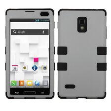 For T-Mobile LG Optimus L9 P769 Rubber IMPACT TUFF HYBRID Case Cover Grey Black