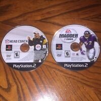 Head Coach & Madden 2005 PlayStation 2 PS2 Discs Only Bundle NFL Football Lot