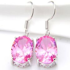 Best Sale Pink Color Natural Pink Fire Topaz Gems Silver Dangle Hook Earrings