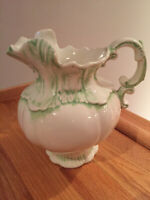 "Arnel's 1975 Pale Green White 8"" Victorian 8 Cup Ceramic Water Pitcher Vintage"