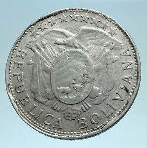1906 AB BOLIVIA Antique Wreath Eagle Hill Genuine 50 Centavos Silver Coin i78271