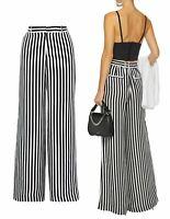 RTA Jupiter Black and White Striped Silk Palazzo Pants XS