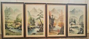 4 Vintage Oil Paintings by Suh Jin Hee - 4 Seasons Landscape Paintings, Framed