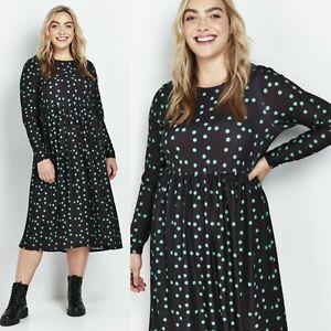 Ladies Womens Green Polka Dot Dress Spotted Summer Long Sleeve Midi Casual UK 20