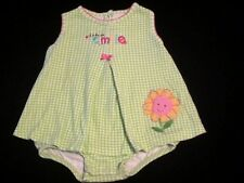 "Baby Girls Carters Green Gingham, ""I Like To Smile"" one piece Sundress Size 12M"