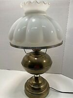 "Brass Electric Table Lamp Working w/ Hobnail Shade Has 10"" Base-Vintage Beauty"