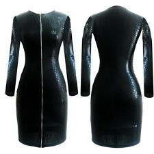 plus size S-3XL leather women  black long sleeve zipper pencil club party dress