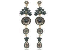 Rhinestone Flower Dangle Drop Earrings Asia Ethnic Tribal Design Fashion Crystal