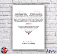 Personalised Memorable Song Words Lyrics Wedding Anniversary Gift Present Print