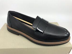 Clarks England Raise Arlie Black Leather Slip On Loafer Womens Size 10M NEW