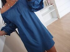 Long Tunika 40 L Neu Blogger Kleid Ibiza Italy Shirt Jeans Blau Musthave Chic