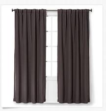 "Threshold Light Blocking Basketweave Curtain Panel  Espresso  Brown 95"" L"