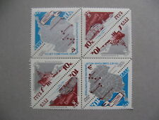 RUSSIA USSR, reversed block of 8 1966 MNH, antarctic research, triangle stamps