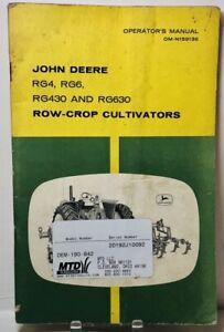 Original JOHN DEERE RG4, RG6, RG430, RG630 ROW CROP CULTIVATORS Owners Manual