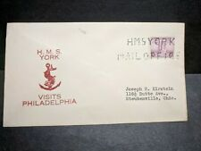 British Cruiser HMS YORK Naval Cover 1930's Cachet Phila, PA