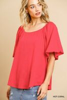 Umgee Coral Round Neck Short Puff Sleeve Slub Knit Top