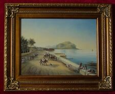 ORIGINAL OIL ON PANEL, SOUTH AMERICAN PORT TOWN IN LATE 18TH/19THc. STYLE, BEAUT