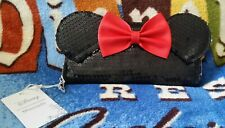 Disney Loungefly Nwt Minnie Mouse Sequin Wallet Black Red Bow