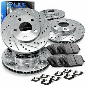For Mercedes-Benz C350 Front Rear  Drill Slot Brake Rotors+Ceramic Brake Pads