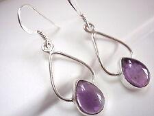 Amethyst Dewdrop Earrings 925 Sterling Silver Dangle Drop Hoop New