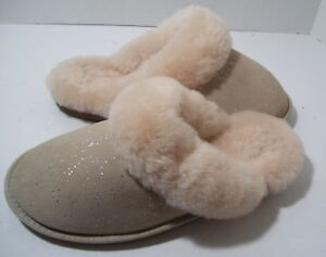 Women's Bedroom Slippers 9 M Plush Beige Suede Fur Lining Silver Dots Mules New