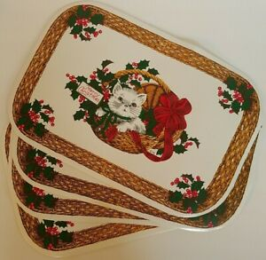 Vintage Town and Country Vinyl Placemats Set of 4 Kitten in Holiday Basket